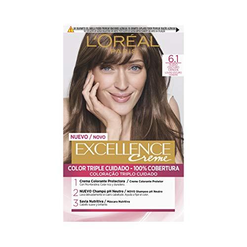 L'Oréal Paris Excellence Creme Tinte Tono 6.1 Rubio Oscuro Ceniza - 50 ml