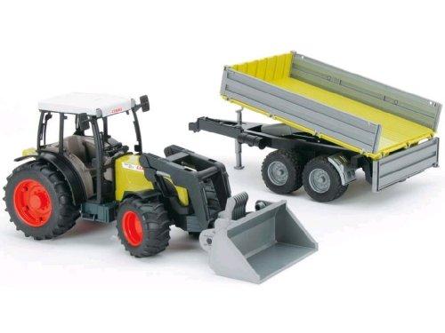 BRUDER - 01998 - Tracteur Claas vert avec fourche et remorque