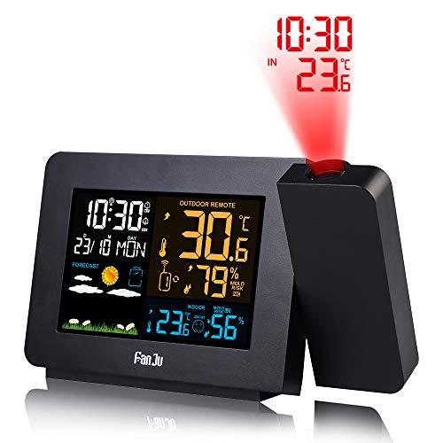 FanJu FJ3391 Funkwetterstation mit Außensensor/Projektionswecker/Innen-/Außentemperatur und Luftfeuchtigkeit/Mondphase/Funkwecker