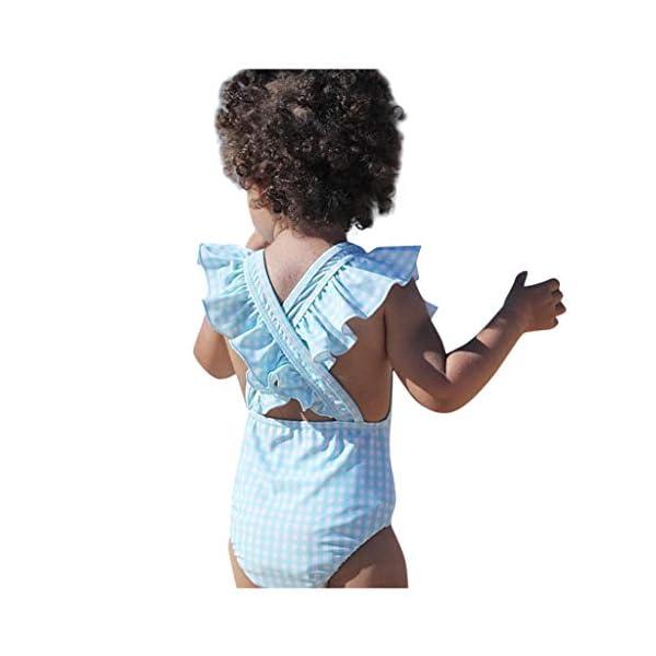Heetey Bañador para niña, niño y niña, diseño de Rayas y Flores, una Sola Pieza, Traje de baño de Rayas 3