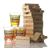 HappyCup Jenga Jeu à boire Tour mobile Drunken Tower avec 4 verres env. 4 cl