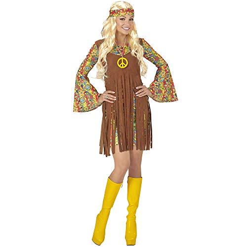 Widmann 06521 Erwachsenenkostüm Hippie Girl, Kleid mit Weste, Stirnband, Kette mit Peace-Zeichen, S, S