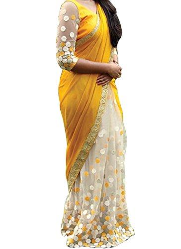 Pramukh Enterprise Women's Georgette Saree With Blouse Piece (Is-Nx-180_Yellow)