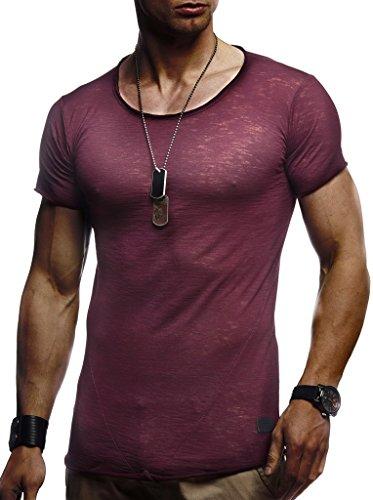 Designer T-shirt Kleid (LEIF NELSON Herren Sommer T-Shirt Rundhals-Ausschnitt Slim Fit Baumwolle-Anteil   Moderner Männer T-Shirt Crew Neck Hoodie-Sweatshirt Kurzarm lang   LN6281 Bordeaux Medium)