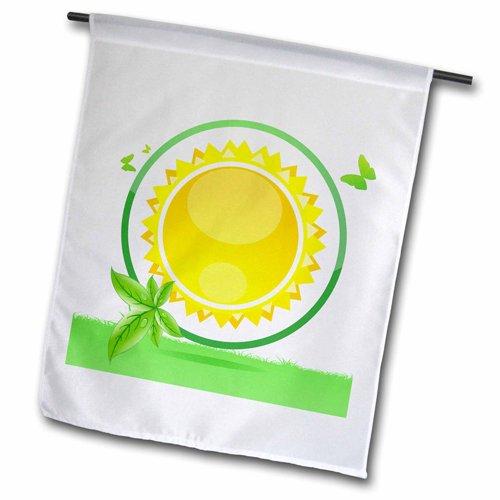 3dRose FL 158564_ 1Eine gelb Sun Verpackt in grün mit grünen Blättern und Schmetterlinge Garten Flagge, 12von 18 - Square Schmetterling Blatt
