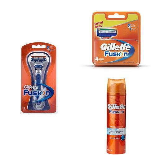 Gillette-Fusion-Manual-Razor-and-Gillette-Fusion-Manual-Shaving-Razor-Blades-4s-Pack-Cartridge-and-Gillette-Fusion-Gel-Ultra-Protection-combo-pack