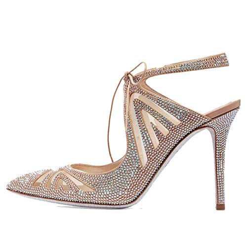 MISS&YG Frauen Spitze Strappy Stilettos Pumpe Fersen Kleid Party-Sandalen Kleid Party Court Shoes Nachtclub Schuhe,Color,35 (Strappy Kleid Schuhe)