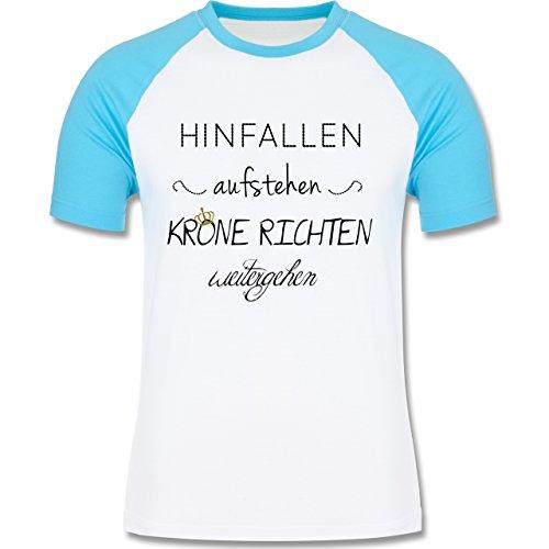 Statement Shirts - Krone richten und weiter gehen - zweifarbiges Baseballshirt für Männer Weiß/Türkis