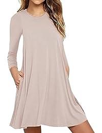 KOLY Moda Abito Casual da Taschino a Maniche Lunghe da Donna T-Shirt da  Sera da Sera Allentata Vestito Mini Abito… fdc1fbfd01e