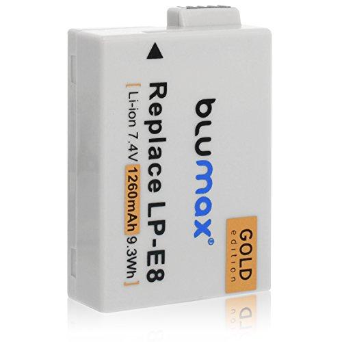 Blumax Gold Edition LP-E8 Akku kompatibel mit Canon EOS 700D 550D 600D 650D 1260mAh 7,4V 9,3Whmehr leistung als Originalakku