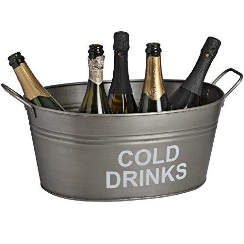 nke Ice Bucket in Antik Zinn Metall Oval Getränke, die Sie Für Wein Champagner Prosecco Bier Flaschen und Dosen Getränke-Service Vintage Rustikal Retro Thema großes Party Badewanne 32x 33x 51cm (Picknick-party-thema)