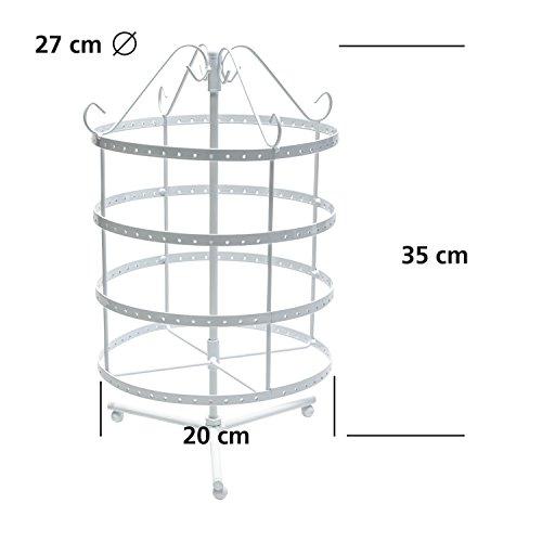 Grinscard - Design Schmuckständer Drehbarer Schmuck Organizer Ohrringhalter Kettenhalter - weiß - 35 x 23 cm