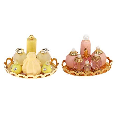 CUTICATE 2Pieces Dolls House Home Item Flacons De Parfum pour Le Vestiaire W. Plateau 1/12