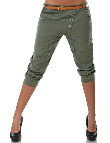 Daleus Damen Boyfriend Chino Capri Hose Knopfleiste inkl. Gürtel (weitere Farben) No 15518, Farbe:Khaki;Größe:42 / XL (Khaki Capri-hosen Shorts)