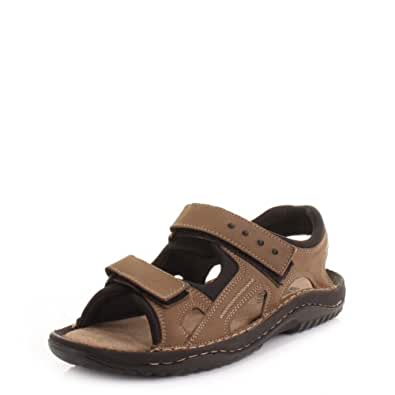 Mens Leather Walking Outdoor Velcro Brown Sandals SIZE 9