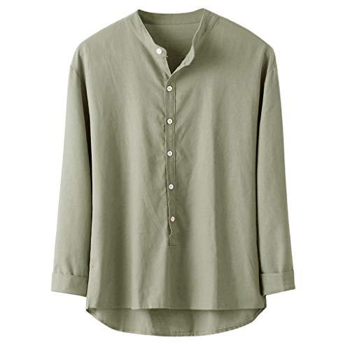 SHE.White Herren Bettwäsche aus Baumwolle Freizeithemd Langarm Loose T-Shirts Oberteile mit Knöpfen Einfarbig Tunika M (Neon-grün-bettwäsche-könig)