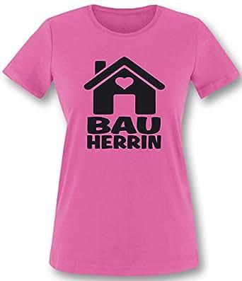 Luckja Bauherrin   Ideales Geschenk auch als Kombination für de Bauherrn   Damen T-Shirt Fuchsia-Schwarz Grösse S