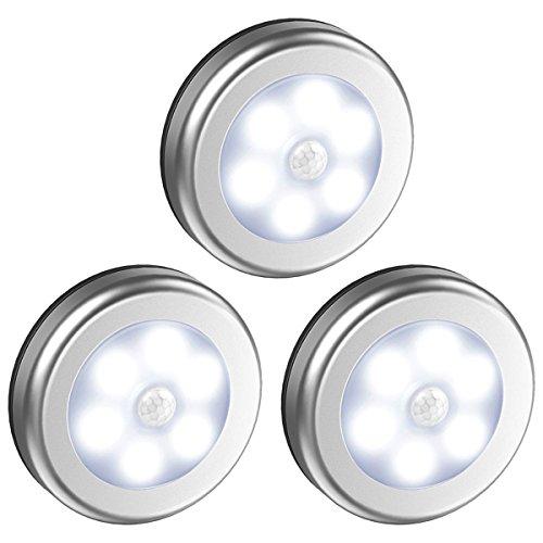 Oria Lampe Détecteur de Mouvement, Lampe de Placard, Veilleuse 6 LED, Automatique Appliques pour Vitrines avec Aimant Intégré, Alimenté par Batterie pour, Escalier, Cuisine, Penderie - Blanc