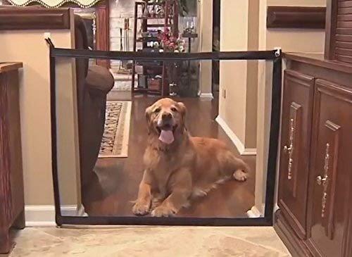 Holoras Magic Gate plegable de seguridad para mascotas, malla de aislamiento, vallas aisladas para perros (negro)