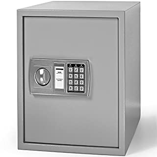 Deuba Digital Safe 56 L Security Cash Box Steel Safe Combination Lock With Key Freestanding or Wall Mounted for Office and Home 40 x 40 x 35 cm