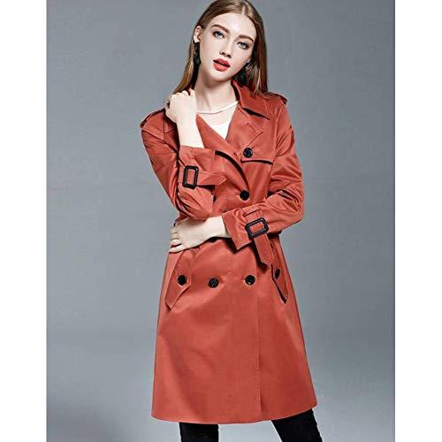 MEJEJO Khaki Trenchcoat Für Frauen Frühling/Herbst Lose Langer Mantel Plus Size 4XL Zweireiher PEA Coat Weiblichen Mantel-Red,XXL - Plus Size Peacoats