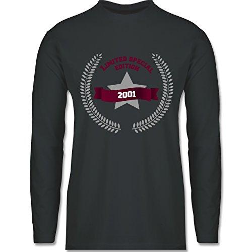 Shirtracer Geburtstag - 2001 Limited Special Edition - Herren Langarmshirt Dunkelgrau