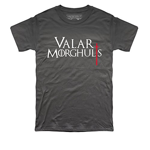 T-SHIRT UOMO VALAR MORGHULIS GAME OF THRONES SERIE TV IL TRONO DI SPADE TV SERIES PD1456A PACDESIGN Asphalt