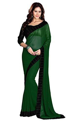 SOURBH Women's Georgette Saree With Blouse Piece (632_Dark Green)