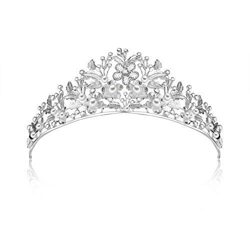 Househome Krone Stirnband, Braut Hochzeit Headwear Perle Krone Stirnband, Barock handgefertigte...
