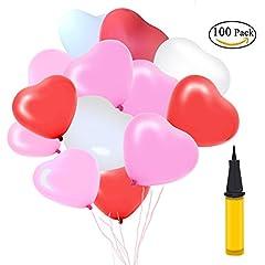 Idea Regalo - 100 Palloncini Cuore Palloncini a Elio Matrimonio Rosa Forma Cuore Rosso Bianco Con Pallina Palloncini San Valentino Palloncini Cuore Completo Accessori Per Feste Decorazioni
