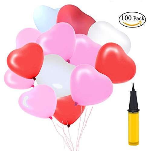San valentino decorazioni, 100 palloncini cuore palloncini a elio matrimonio rosa forma cuore rosso bianco con pallina palloncini san valentino palloncini cuore completo accessori per feste decorazioni