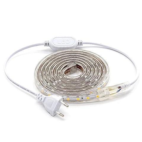ALOTOA LED Streifen, 2M 60LEDs/M SMD 5050 Kaltes Weiß 6000K, 230V IP68 Led Leiste Wasserdichte Beleuchtung für Haus,Garten Dekoration Lichtband Beleuchtung(2m,cool white) (Küche Indirekte Beleuchtung)