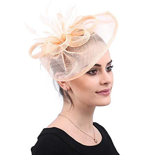 ca7dad601c5c4 Y.L Master Plumes pour Mariage Cocktails Chapeau Mini Voile Plume Femme  CéRémonie Accessoire Cheveux,Orange