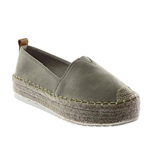Angkorly Damen Schuhe Espadrilles - Plateauschuhe - Bi-Material - Seil - Elastisch - Fertig Steppnähte Flache Ferse 4.5 cm - Grau BL236 T 39