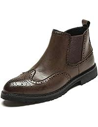 Bottines à Talon Plat pour Hommes,2018 Chaussures Homme Bottes et Boots Color : Rouge, Taille : 44 EU Chaussures