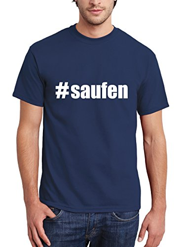 ::: #SAUFEN ::: T-Shirt Herren Navy