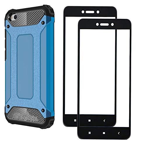 FANFO® Xiaomi Redmi Go Case + 2 पैक सुरक्षात्मक फिल्म, ब्लू