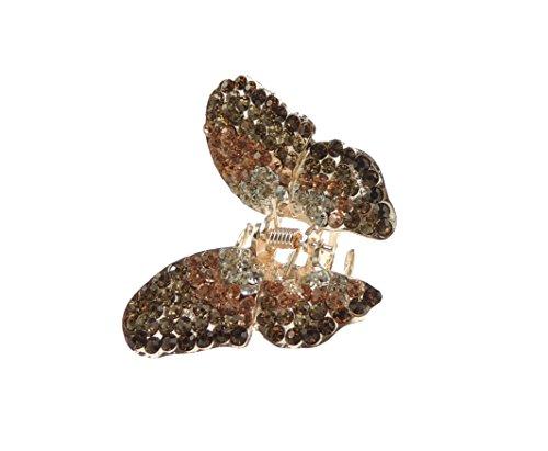 Superbe Extra Paillette pour femme Cristaux incrustés Papillon 5.5 cm Griffe de cheveux Clamp