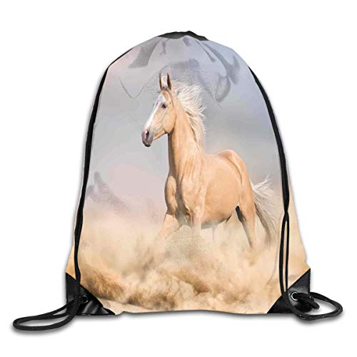 Animal Decor Duvet Cover Set, Palomino Horse In Sand Desert With Long Blond Male Hair And Tail Power Wild Animal Theme Picture,Cream Blue_2Gym Bag (Male Power-camo)