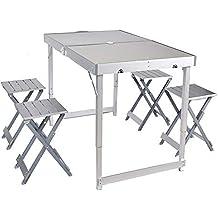WU LAI Mesa Y Silla Plegables De Aluminio para Exteriores, Mesa Y Silla Plegables Divididas