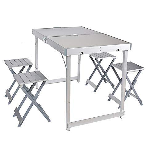 WU LAI Table Et Chaise Pliantes D'extérieur en Aluminium | Table Et Chaise Pliantes Divisées | Table De Loisirs D'extérieur | Table Pliante Et Chaise à Cinq éléments,OneColor-70x60x120cm