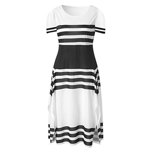 MMOOVV Kleid Frauen gestreiften Ärmel lässig Partykleid Frauen runden Kragen Midi Abendkleid (Weiß 3XL) (Korsett Oben Schwimmen)