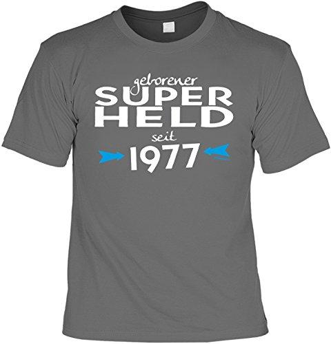 T-Shirt zum Geburtstag: Geborener Super Held seit 1977 - Tolle Geschenkidee - Baujahr 1977 - Farbe: anthrazit Anthrazit