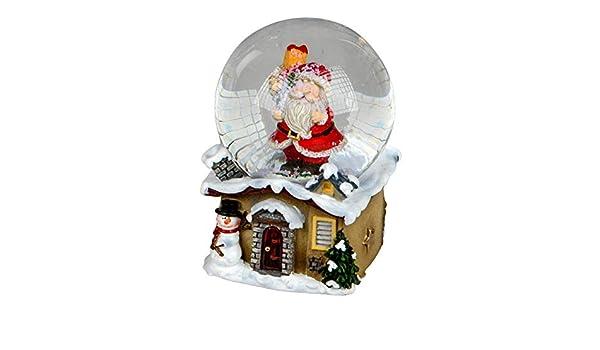 Schneekugel Schüttelkugel  mit Weihnachtsmann auf einem Winterhaus-Sockel 6cm gr