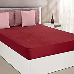 """Amazon Brand - Solimo Water Resistant Cotton Mattress Protector 78""""x72"""" - King Size, Maroon"""