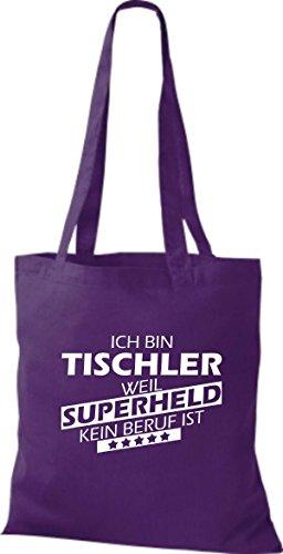 Shirtstown Stoffbeutel Ich bin Tischler, weil Superheld kein Beruf ist lila