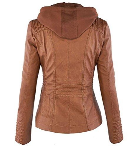 NiSeng Veste en simili cuir Femme Manteau a capuche Fermeture éclair Chaud Motard Courte Hooded Veste Kaki