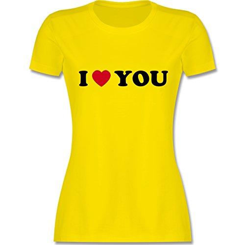 I love - I Love You - tailliertes Premium T-Shirt mit Rundhalsausschnitt für Damen Lemon Gelb
