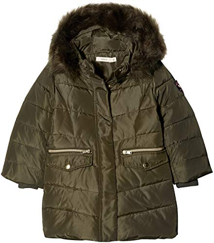 NAME IT Baby-Mädchen NMFMELA DOWN Jacket Camp Jacke, Grün Detail: with Forest Night Color Fur, 98