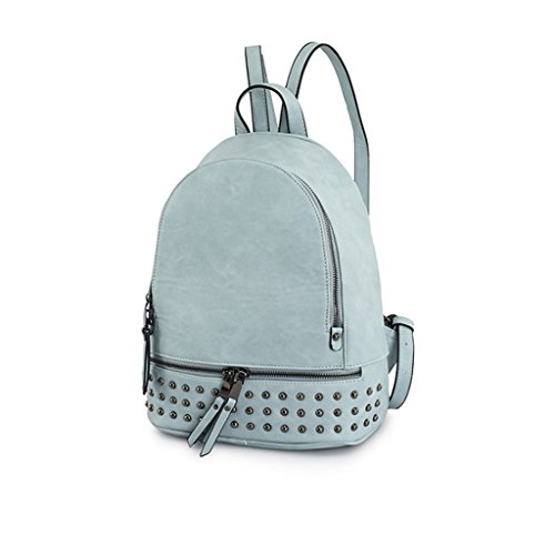 GUO - filles mignon simple campus de la mode CollegeShopping loisirs marée sauvage Meng sac à dos en PU (bleu) (26 * 11 * 33cm)